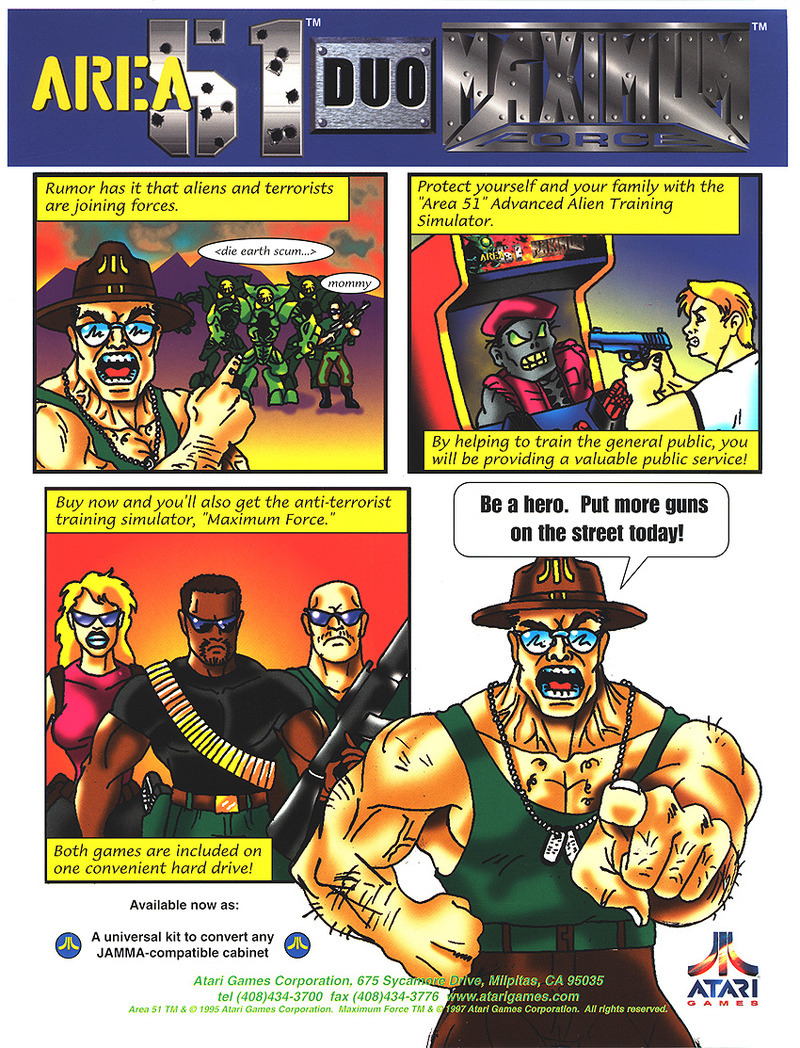 Area 51 Maximum Force Arcade Game Vintage Arcade